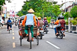 View of Yogyakarta with its typical hundreds of motorbikes on th