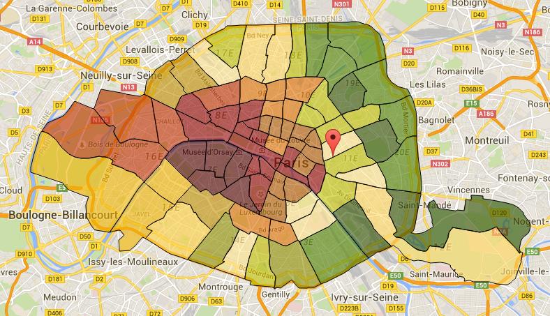 quartiers de Paris encadrement des loyers