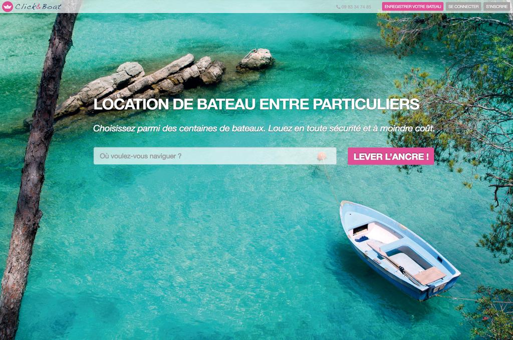 Accueil du site de location de bateaux entre particuliers Click & boat